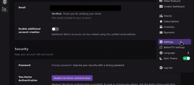 Set up 2FA (Two Factor Authentication) for Twitch with Google Authenticator (or other TOTP client)