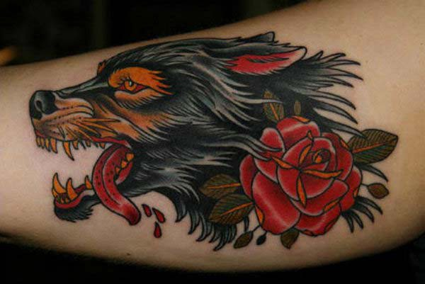 wolf and roses tattoo