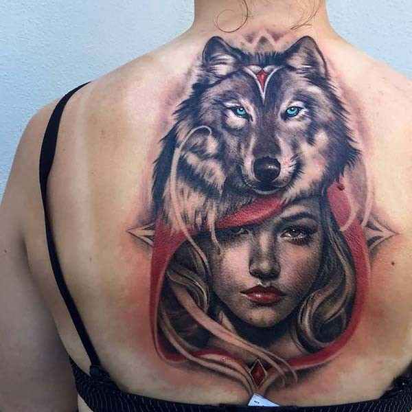 red riding hood and wolf tattoo