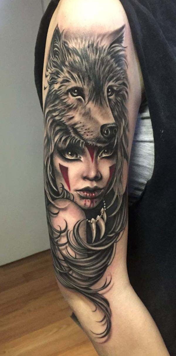 tattoo of native american girl and wolf