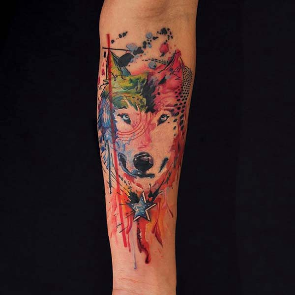 colored tattoos wolf models
