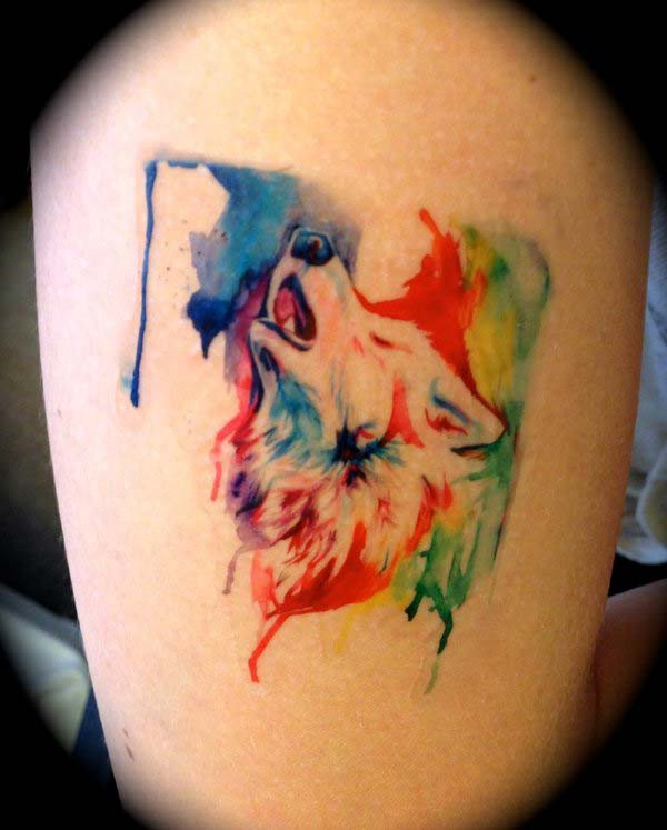 colorful wolf tattoo