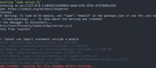 SyntaxError: Cannot use import statement outside a module