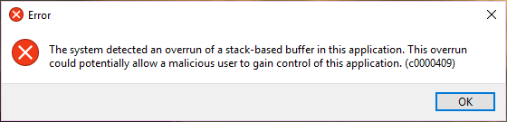 System Detected Stack-Based Buffer Overrun — How to Fix