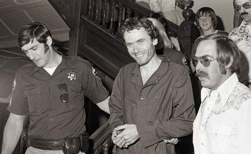Ted Bundy being led through Pitkin County, Colorado, Courthouse in 1977. Photo courtesy of Glenwood Post.