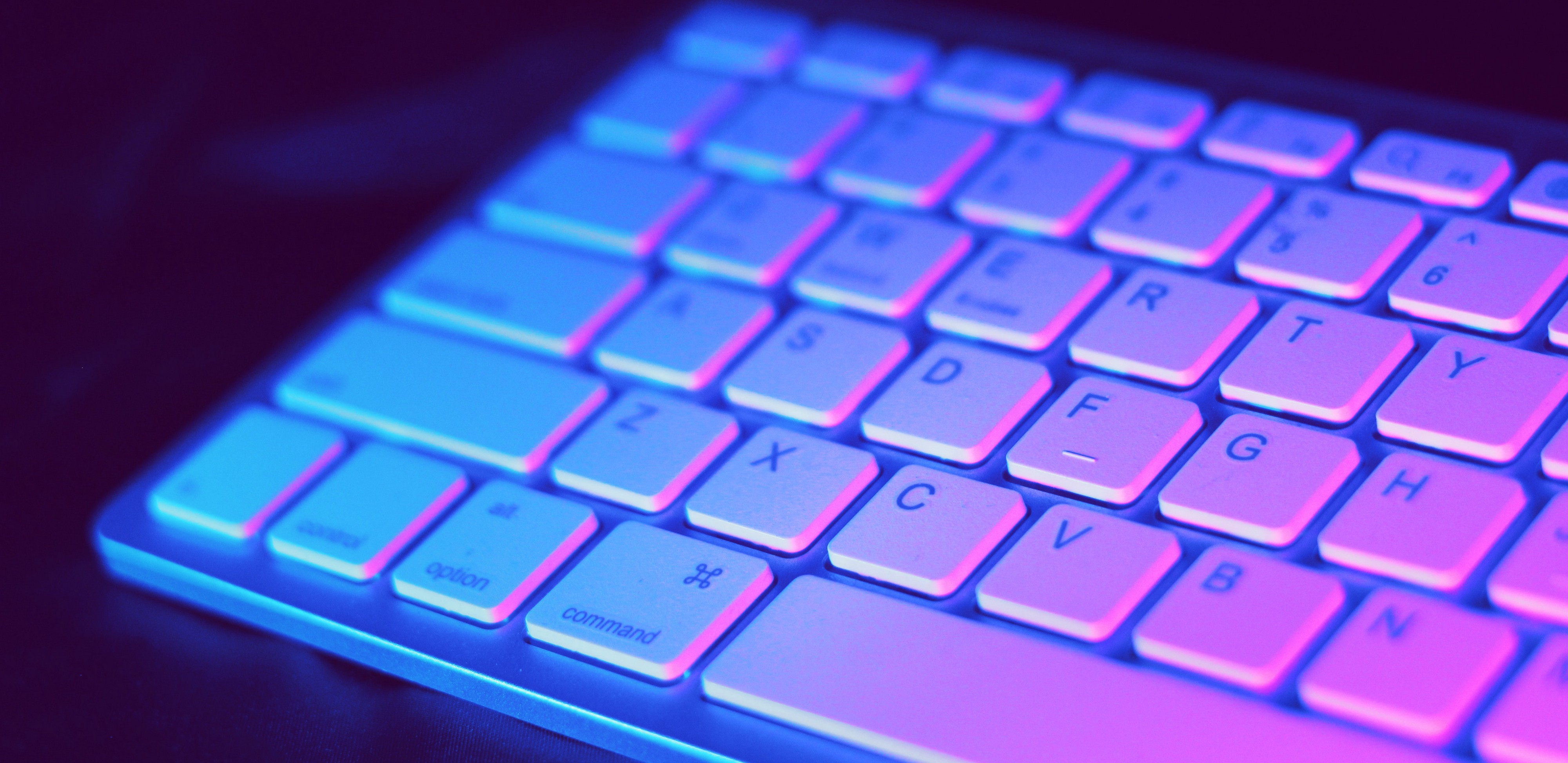 keyboard with pink blue lighting