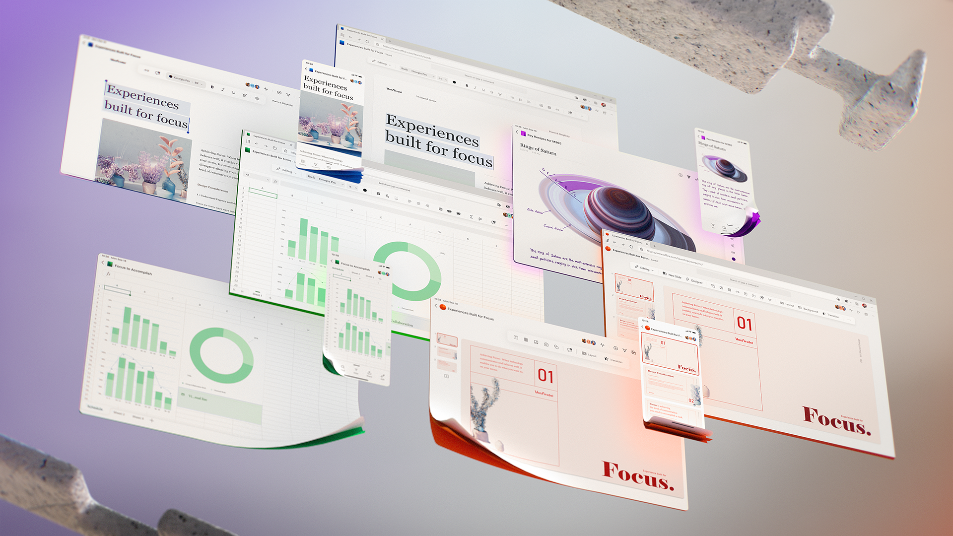 5 screens across desktop, tablet, and mobile showing explorations of future UI.