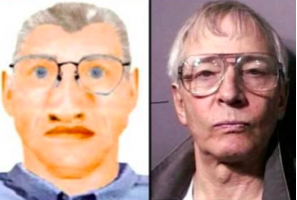 Suspected serial killer Robert Durst and composite of a person of interest in Karen Mitchell disappearance.