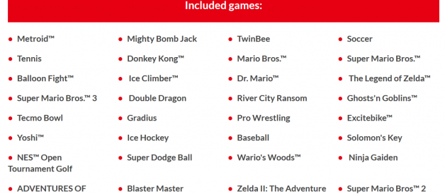 The Nintendo Switch Online library