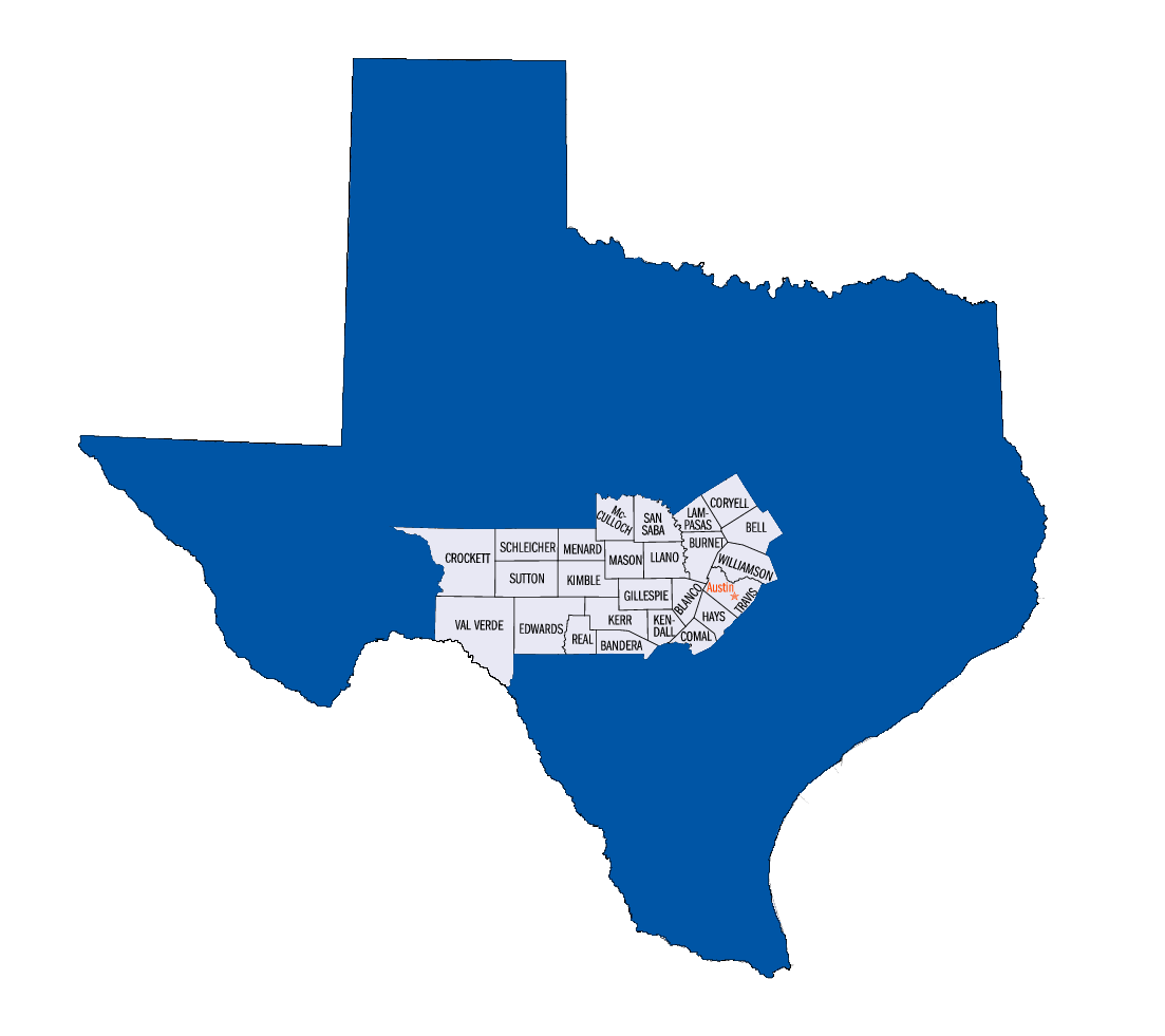 Hill Country Counties Map