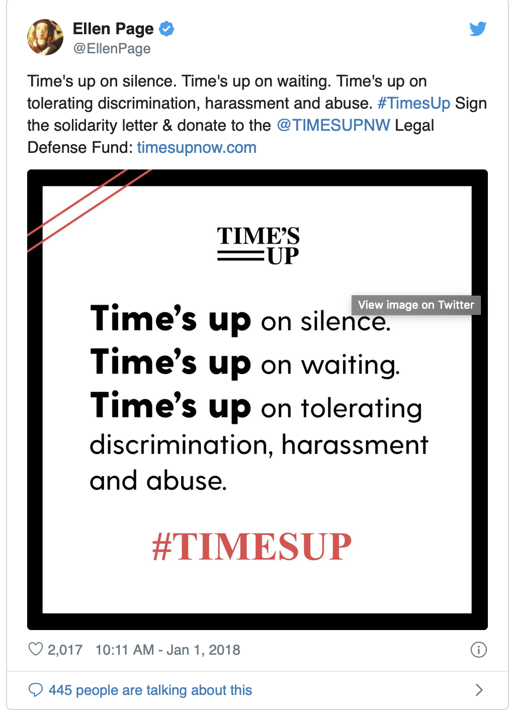 Ellen Pages tweet about the #TimesUp movemet. It states ?Time?s up on slience? waiting? tolerating??