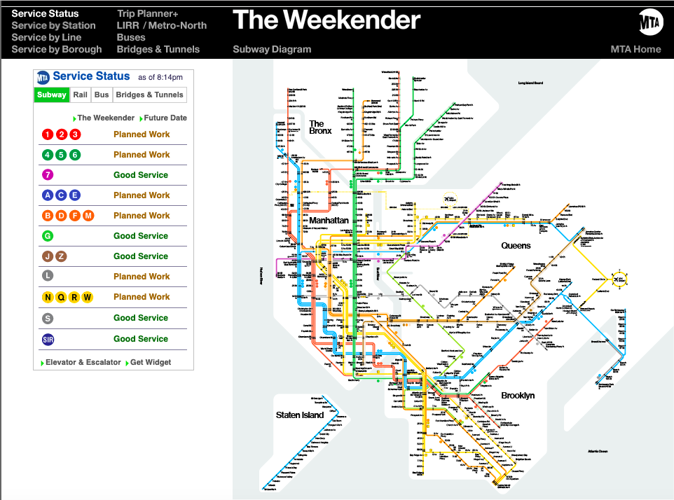 Snapshot of The Weekender giving real-time information on subway service status