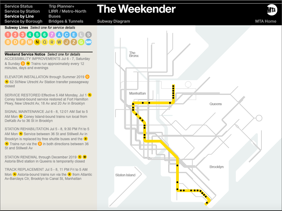 Snapshot of The Weekender showing planned work along the N Line.