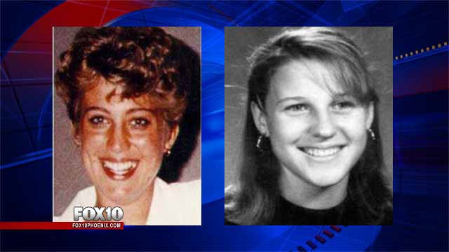 Angela Brosso (left) and Melanie Bernas (right), both found murdered along the Phoenix Canal in 1992 and 1993.