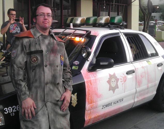 Photograph of Brian Patrick Miller, the Zombie Hunter, dressed in Cosplay on his Facebook profile.