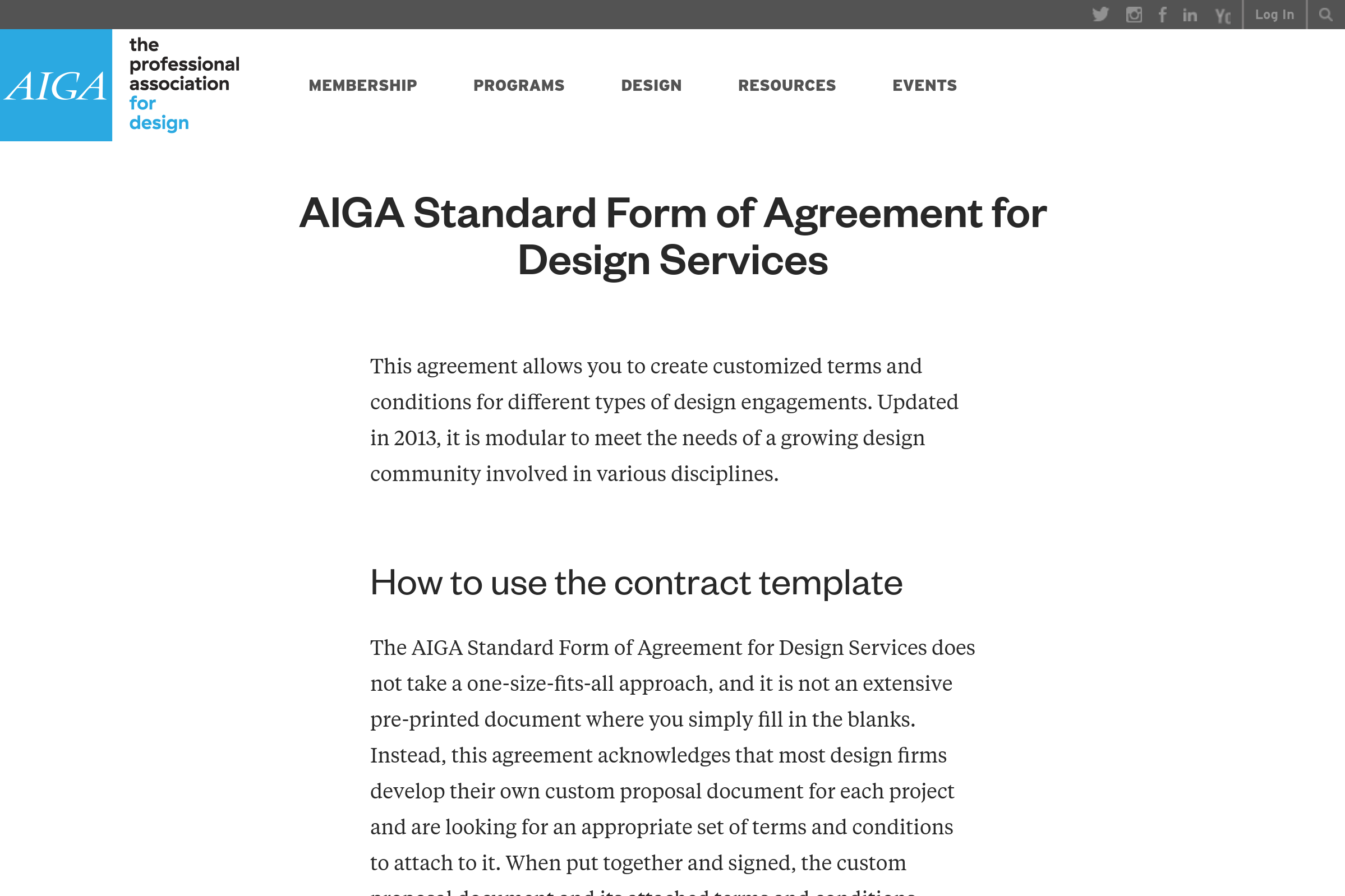 Freelance Web Developer Contract Template from AIGA
