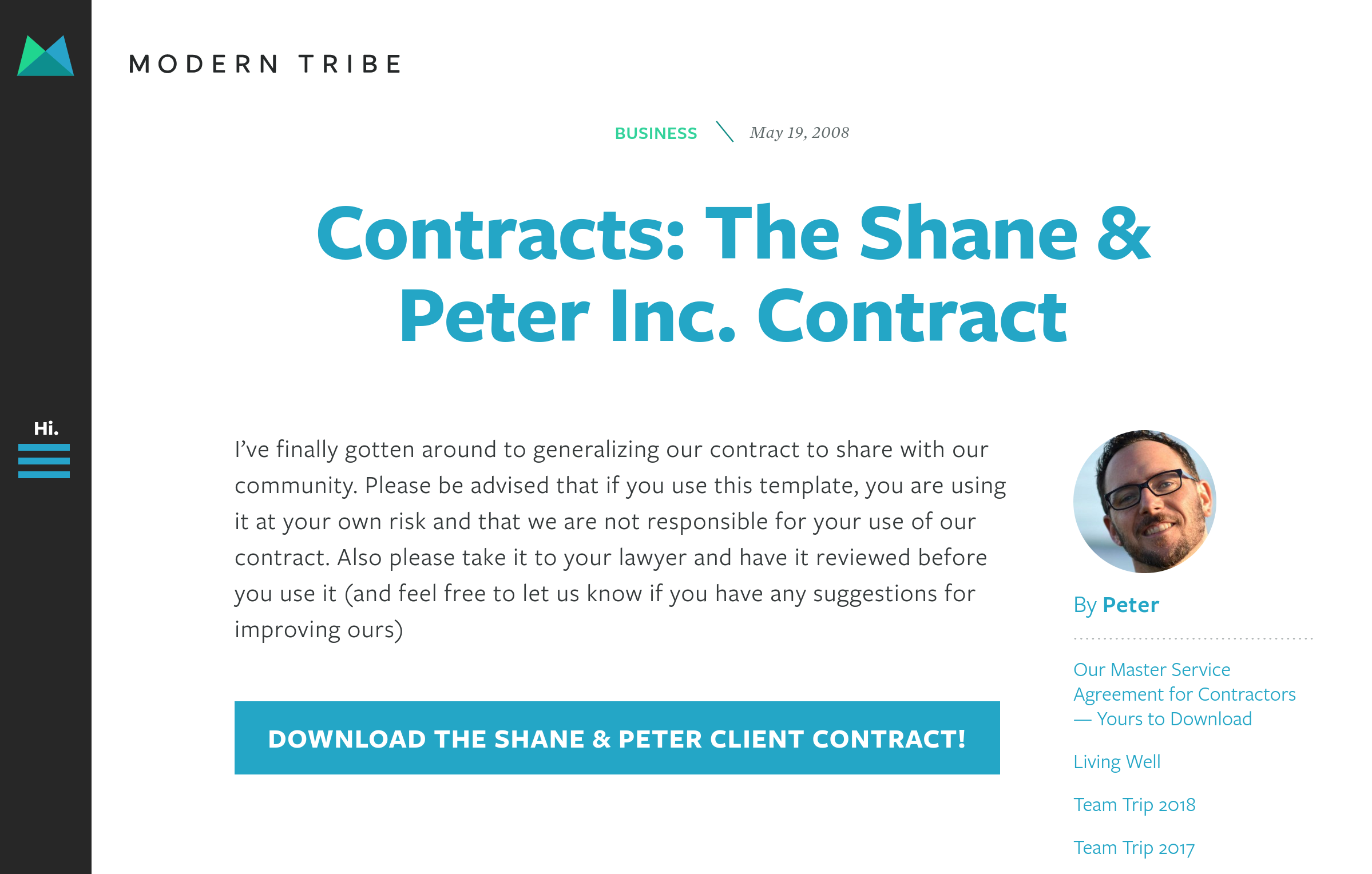 Freelance Web Developer Contract Template from Shane & Peter Inc.