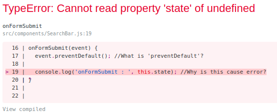 TypeError: Cannot read property state of undefined