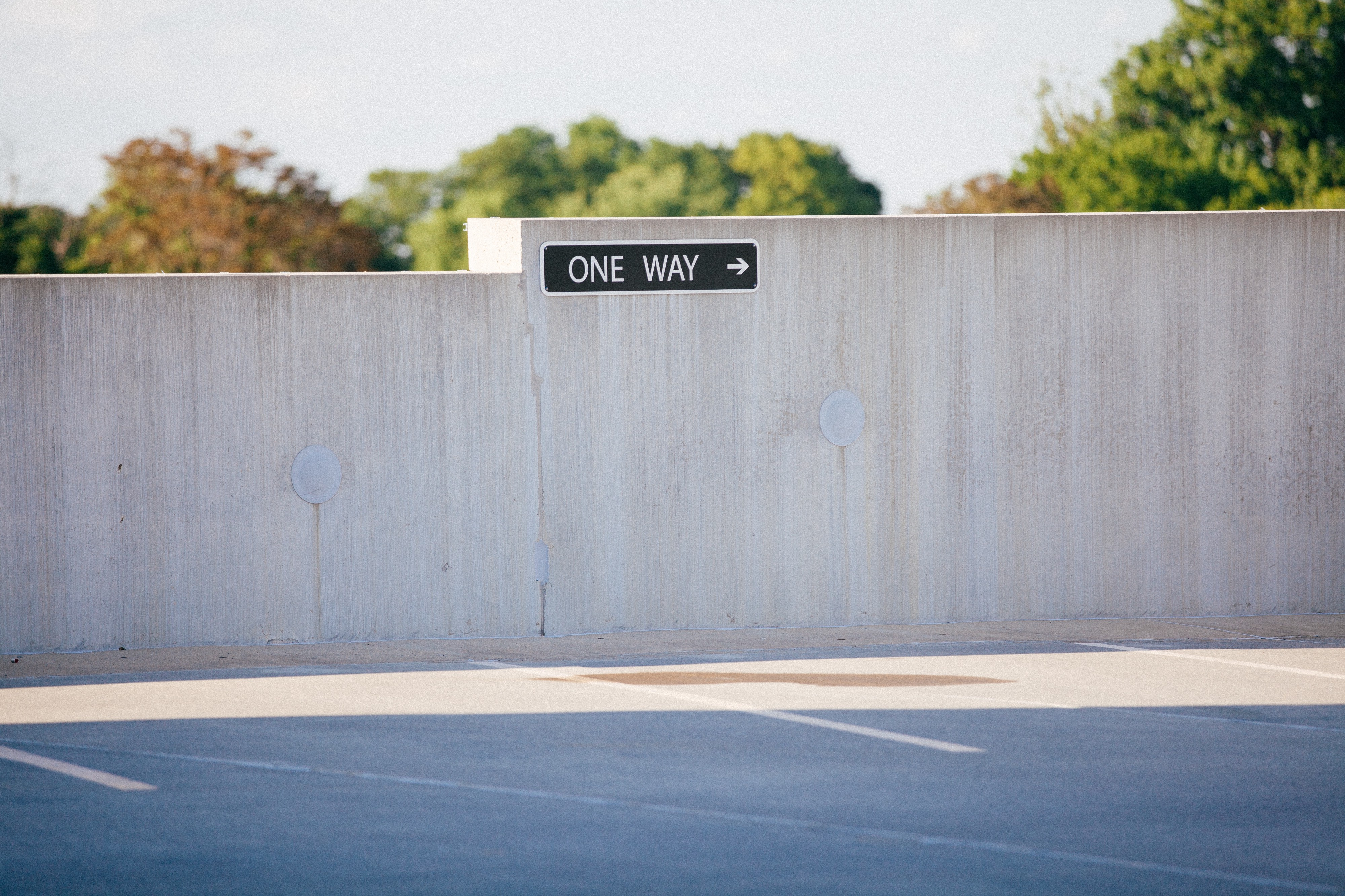 One way sign in parking lot