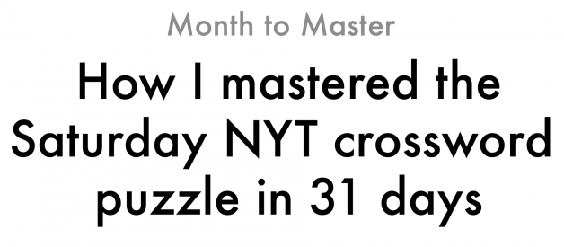 Why the Saturday NYT puzzle?