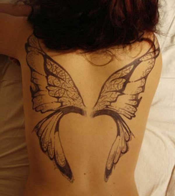 butterfly wing back tattoo