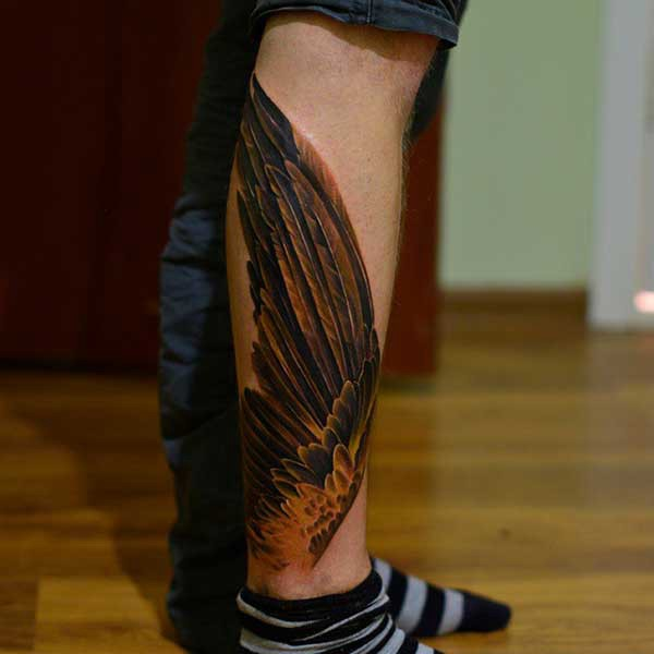 foot wing tattoo ankle wings tattoo