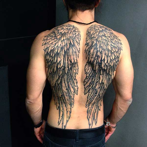 male wing tattoo for back