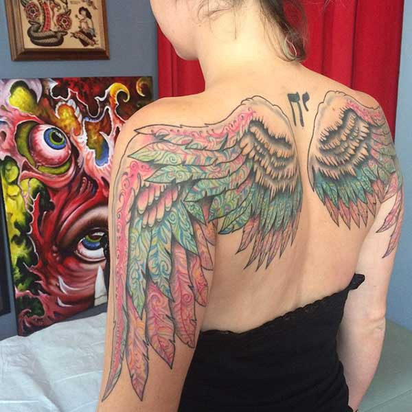 colorful wing tattoo