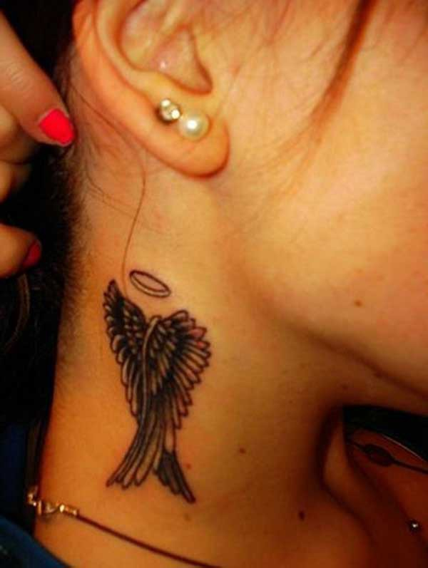 neck wing tattoo necklace wings tattoo